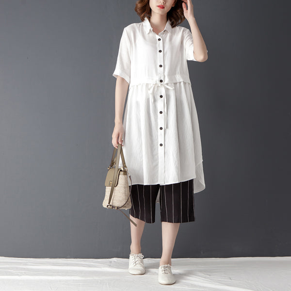 Polo Collar Short Sleeve Irregular White Lacing Shirt - Buykud