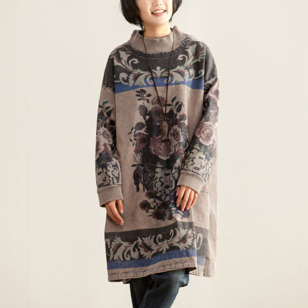 Women Mock Neck Long Sleeve Printing Cotton Dress