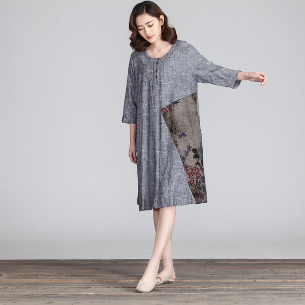 Women Floral Loose Casual Splicing Dress - Buykud