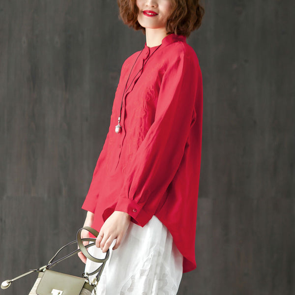 Embroidery Stand Collar Long Sleeve Red Pullover Blouse - Buykud