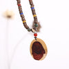 Casual Women Retro Wooden Annual Ring Necklaces - Buykud