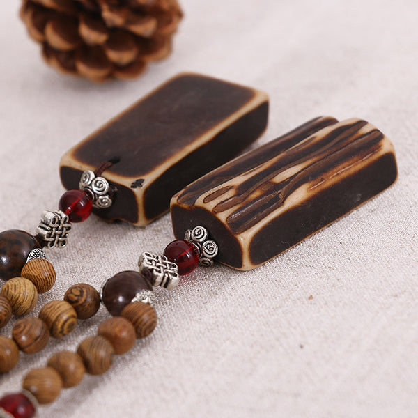 Square Ethnic Beaded Wooden Women Casual Retro Necklaces