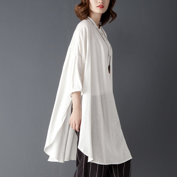 Stand Collar Three Quarter Sleeve White Cotton Linen Shirt - Buykud