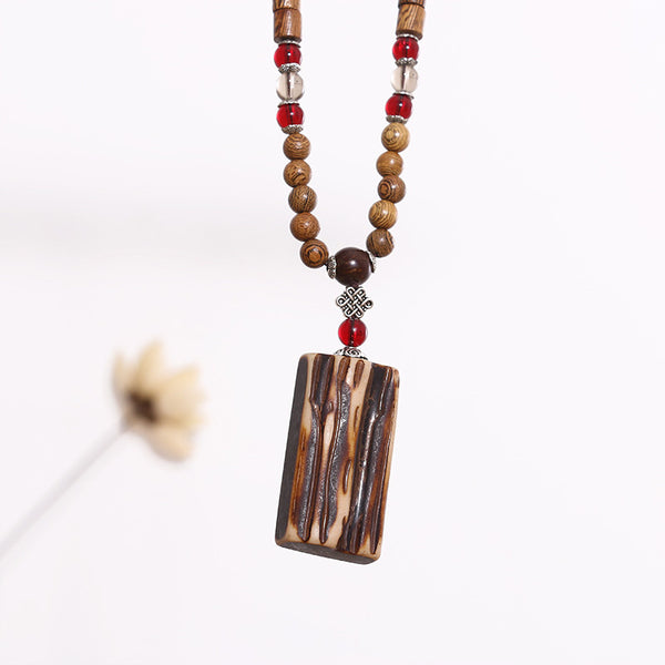 Square Ethnic Beaded Wooden Women Casual Retro Necklaces - Buykud