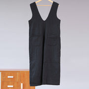 Women Loose Stripe Pocket Rompers Jumpsuit - Buykud