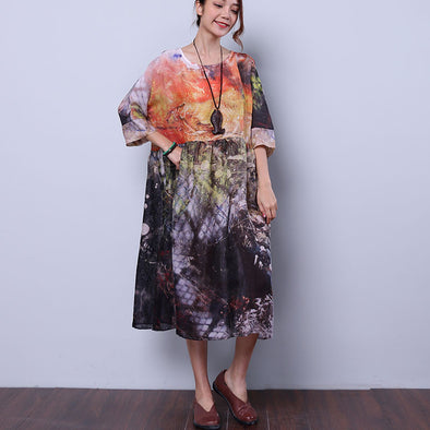 Women Chic Colorful Loose Dress - Buykud