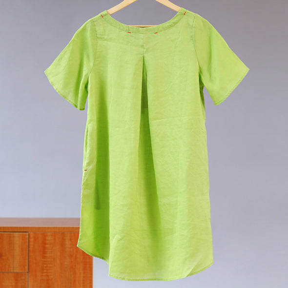 Summer Women Round Neck Short Sleeve Light Green Shirt - Buykud