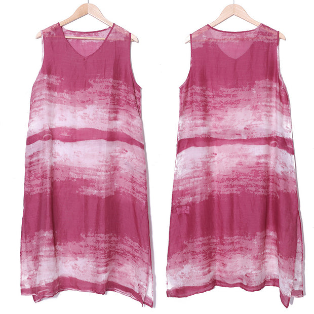 Women Casual Pockets Side Slit Printing Translucent Dress - Buykud
