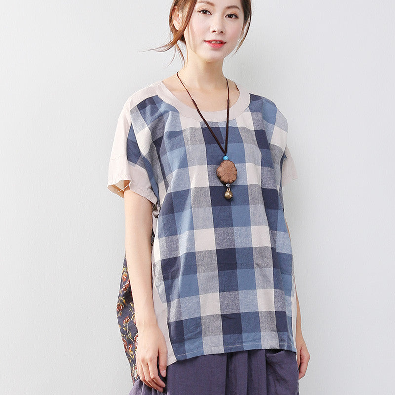 Chic Printing Lattice Women Short Sleeves Shirt - Buykud