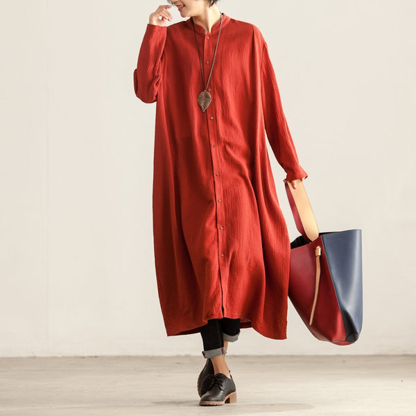 Loose Long Sleeve Single Breasted Women Casual Dress - Buykud