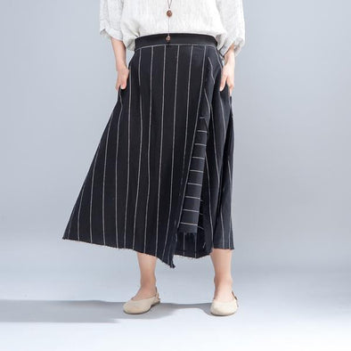 Loose Casual Irregualr Stripe Asymmetric Skirt