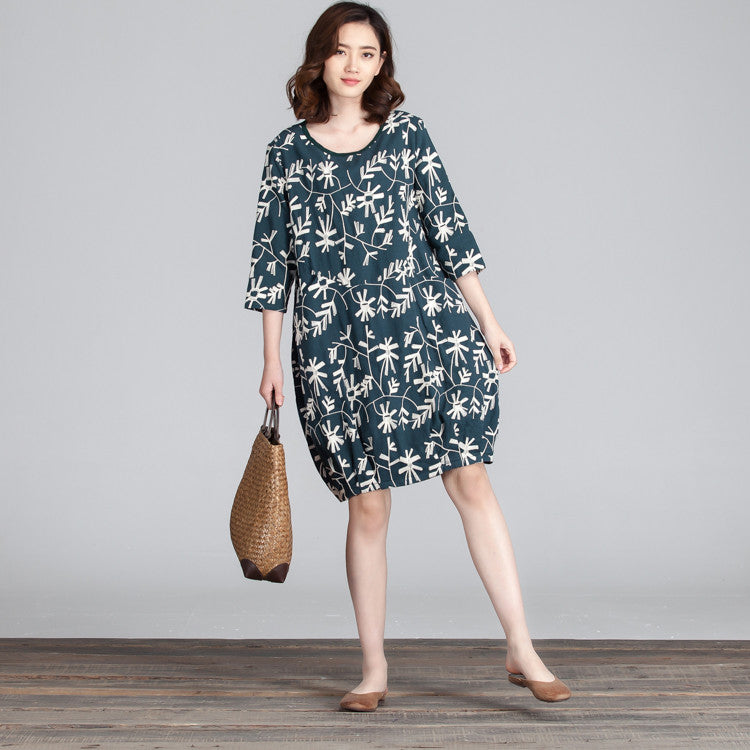 Spring Embroidered Round Neck Women Green Dress - Buykud