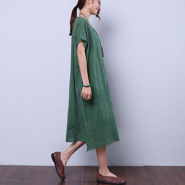 Summer Women Loose Casual Cotton Embroidered Splitting Green Dress - Buykud