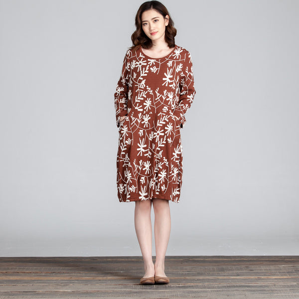 Spring Embroidered Round Neck Women Brown Dress - Buykud