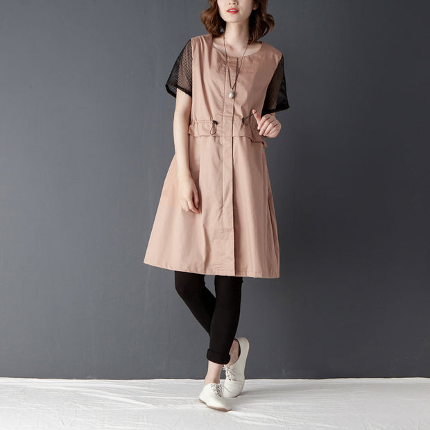 Casual Women Round Neck Short Sleeve Zipper Dress - Buykud