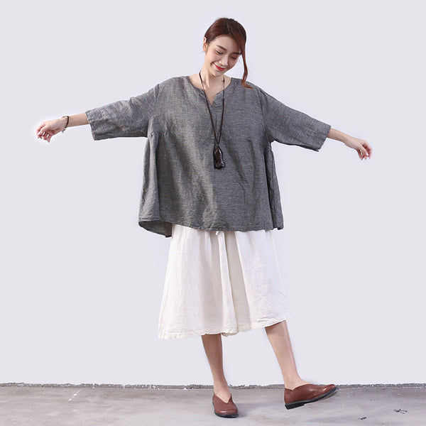 Folded Linen Women Loose Lattice Casual Gray Shirt