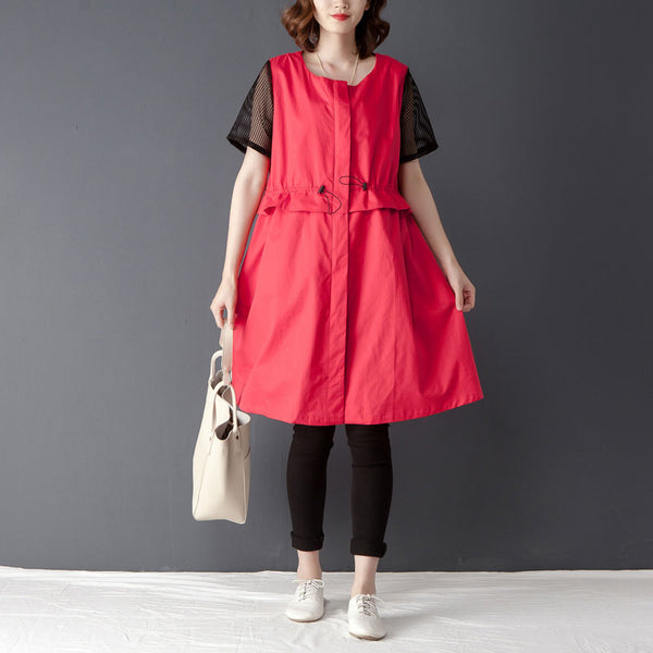 Casual Round Neck Short Sleeve Zipper Red Dress - Buykud