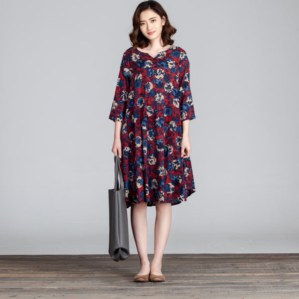 Floral Loose Linen Cotton Casual Women Red Dress