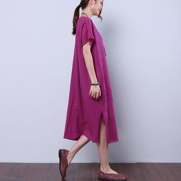 Summer Women Loose Casual Cotton Embroidered Splitting Purple Dress - Buykud