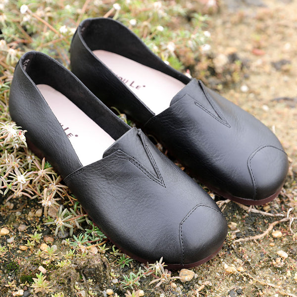 Stylish Leather Retro Women Black Single Shoes - Buykud