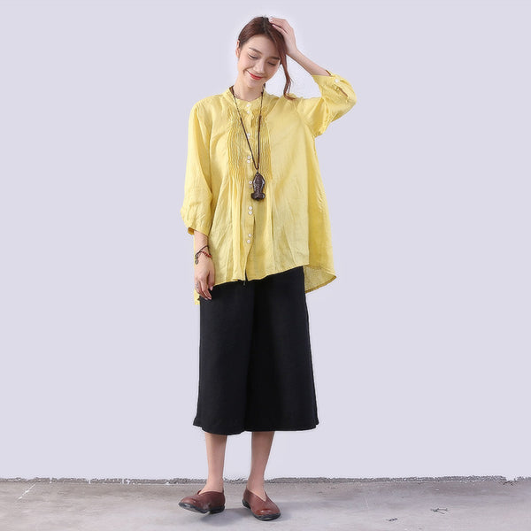 Folded Linen Women Irregular Loose Casual Yellow Shirt