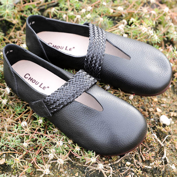 Fashion Leather Retro Women Black Single Shoes - Buykud
