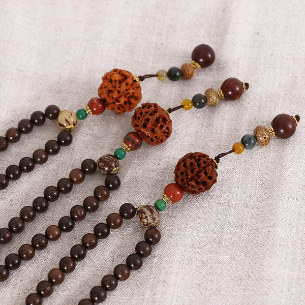 Walnut Ethnic Beaded Wooden Women Casual Retro Necklaces - Buykud