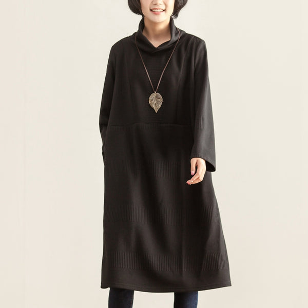Turtle Neck Long Sleeve Autumn Winter Black Dress For Women - Buykud