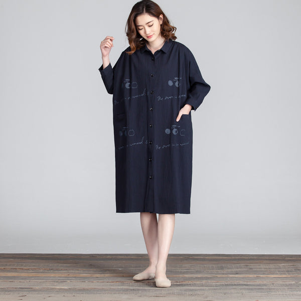 Blue Cotton Linen Loose Long Sleeve Shirt Dress - Buykud