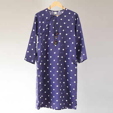 Casual Women Loose White Dots Long Sleeve Linen Dress - Buykud