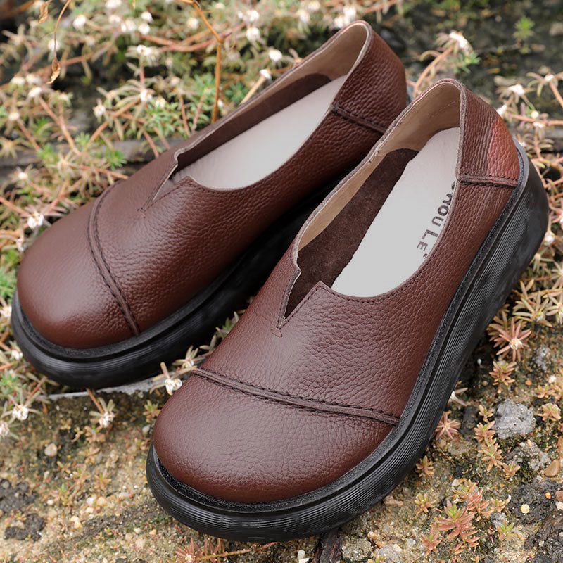 Fashion Leather Vintage Women Coffee Single Shoes - Buykud