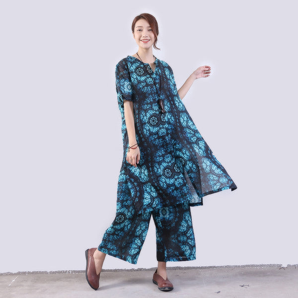Printing Casual Pocket Linen Women Splitting Loose Blue Suits(Shirt+Pants) - Buykud