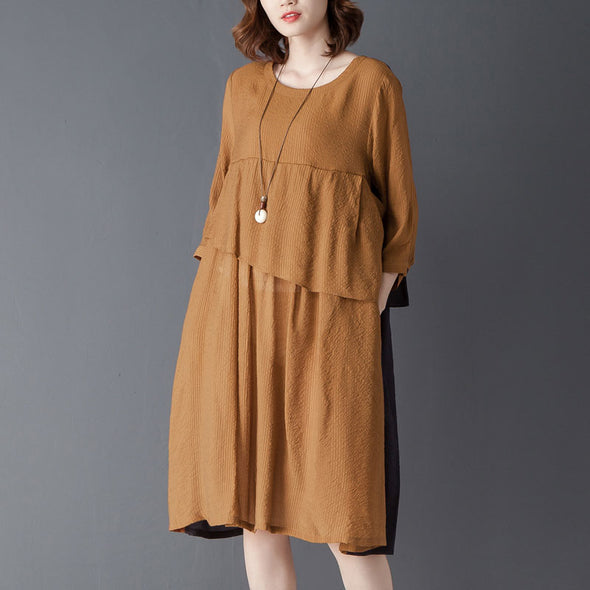 Round Neck Three Quarter Sleeve Khaki Knee Length Dress - Buykud