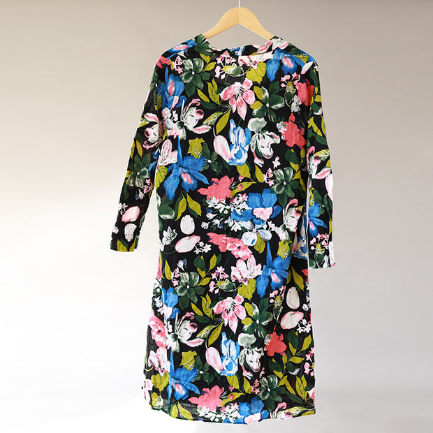 Women Two-Piece Long Sleeve Split Printed Dress+Vest - Buykud