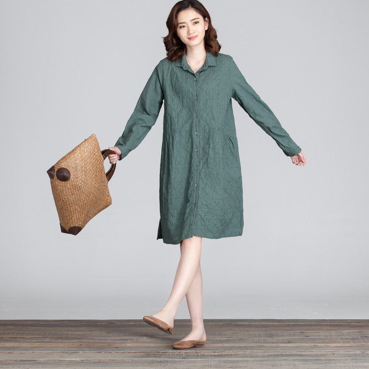 Embroidered Women Loose Straight Casual Splicing Dress - Buykud
