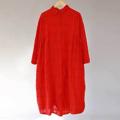 Casual Women Polo Collar Loose Red Pleated Dress - Buykud