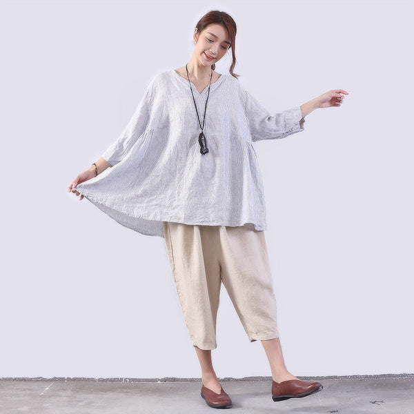 Folded Linen Women Loose Stripe Casual Blue Shirt