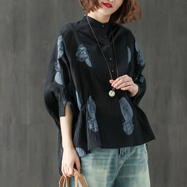 Stand Collar Three Quarter Sleeve Loose Printed Top - Buykud