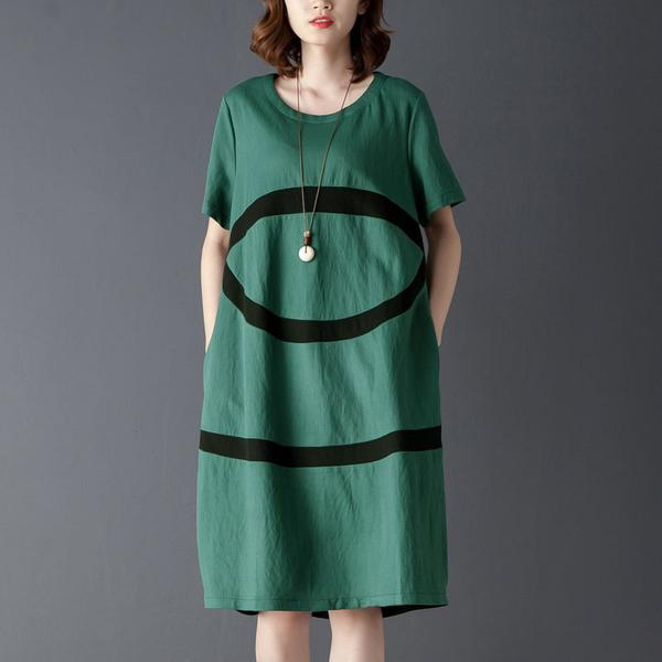 Summer Casual Round Neck Short Sleeve Dress