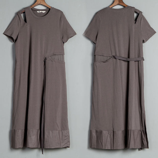 Short Sleeve Slit Round Neck Belt Gray Dress