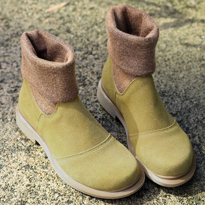 Women Winter Fashionable Cotton Yellow Green Boots Shoes - Buykud