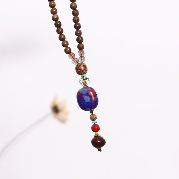 Retro Beaded Wooden Women Ethnic Ceramics Necklaces - Buykud
