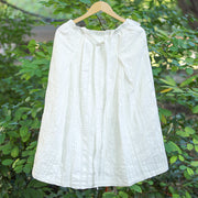 Women Linen Cotton Casual Loose Strap White Skirt - Buykud
