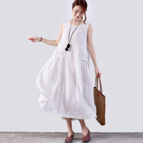 Folded Splicing Stripe Women White Vest Dress