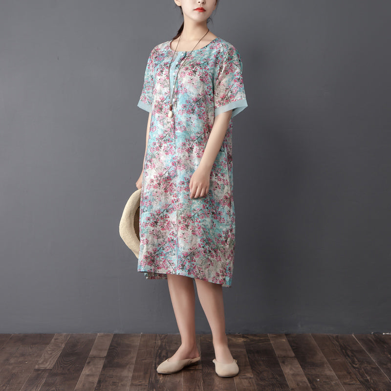 Women Retro Round Neck Short Sleeve Printed Dress - Buykud