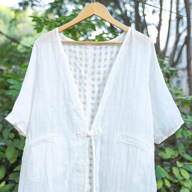 Casual Slit Lattice Half Sleeves Women White Coat - Buykud