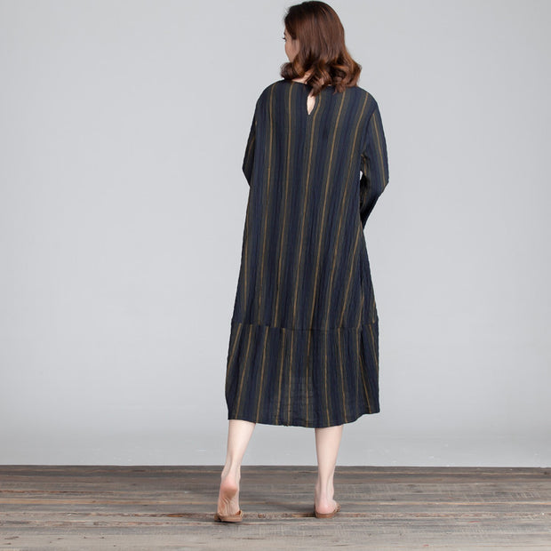 Stripe Women Irregular Loose Casual Splicing Dress - Buykud