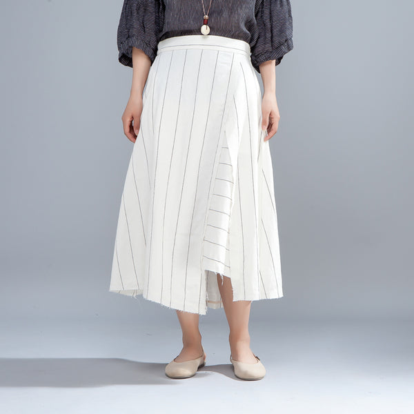Loose Stripe Women Casual Calf Length White Skirts - Buykud