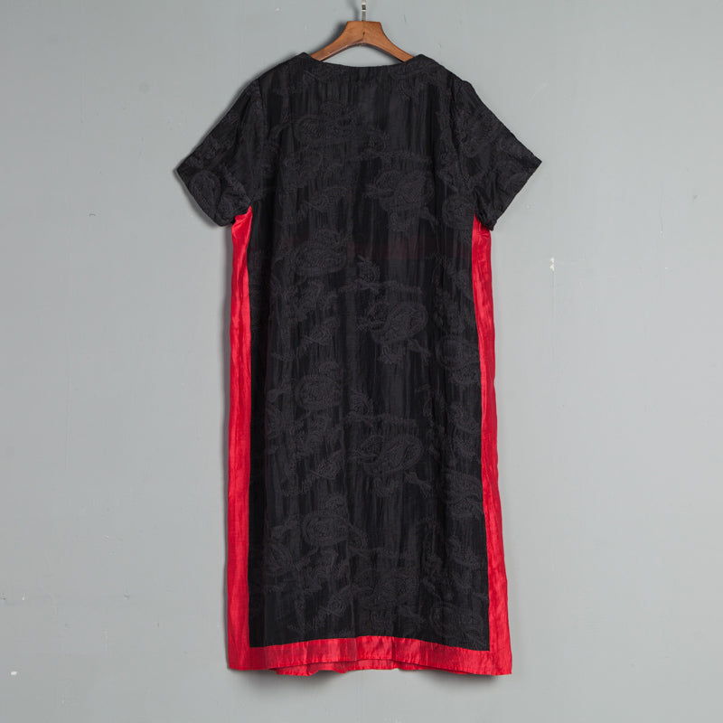 Summer Round Neck Short Sleeve Casual Embroidery Dress