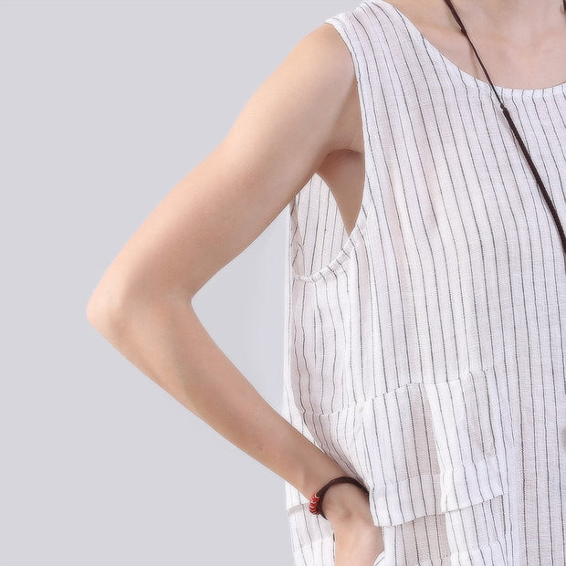 Folded Splicing Stripe Women White Vest Dress - Buykud